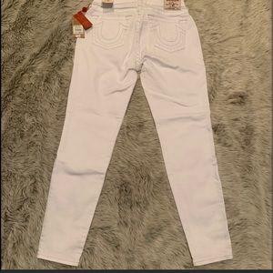 True Religion white skinny curvy jeans